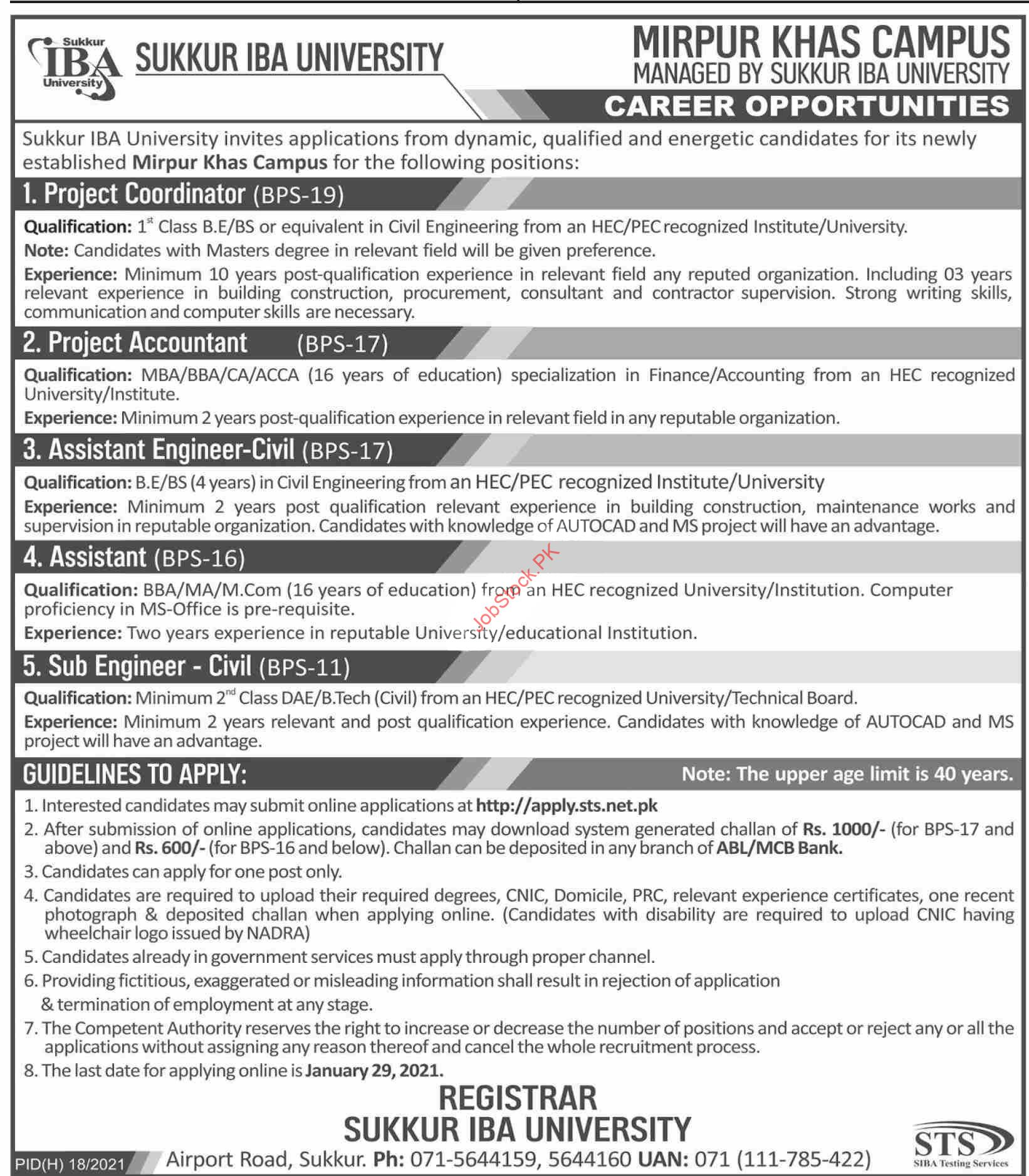 Sukkur Iba University Mirpur Khas Campus Jobs 2021
