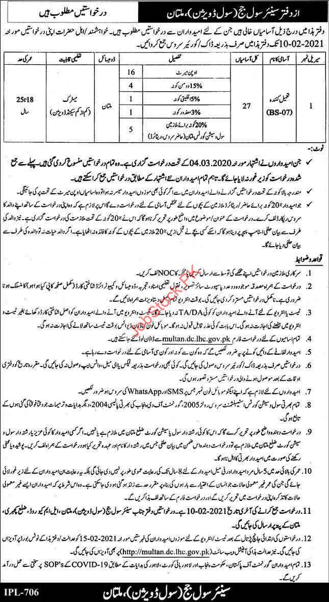 Tameel Kuninda Jobs In Civil Session Court Multan 2021 New