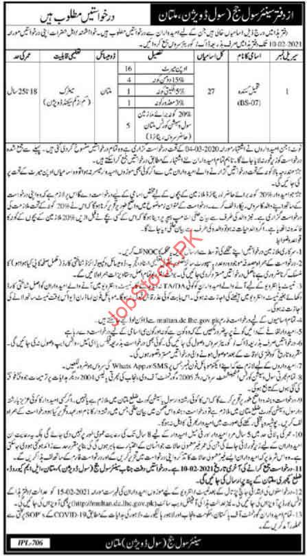 Tameel Kuninda Jobs In Civil Session Court Multan 2021