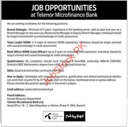 Telenor Microfinance Bank Karachi Jobs 2021