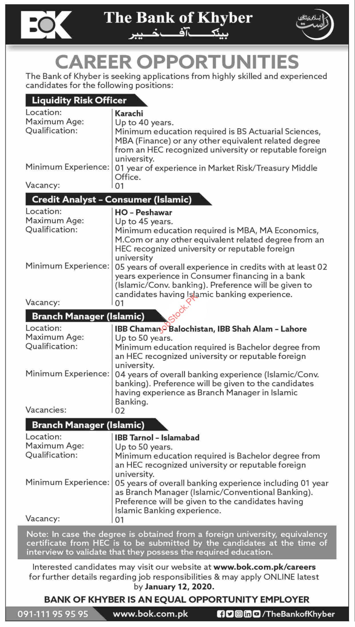 The Bank Of Khyber Bok Jobs 2021 Latest