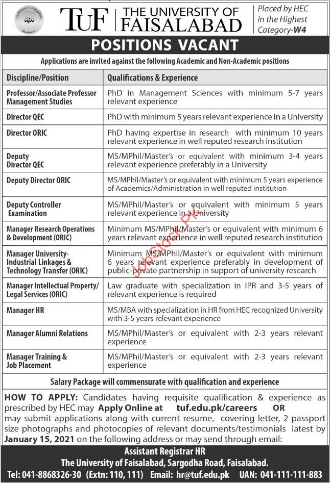 The University Of Faisalabad Tuf Jobs 2021 Latest
