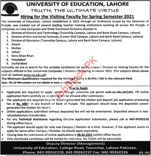 Visiting Faculty Jobs In University Of Education Lahore 2021 Latest