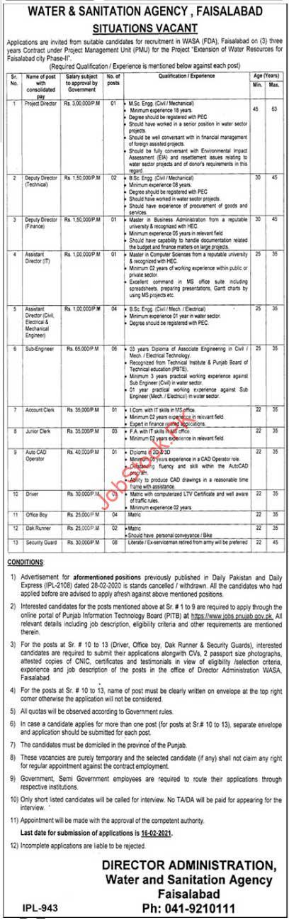 Wasa Jobs 2021 Faisalabad Apply Online