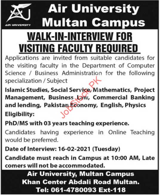 Air University Multan Jobs 2021 February