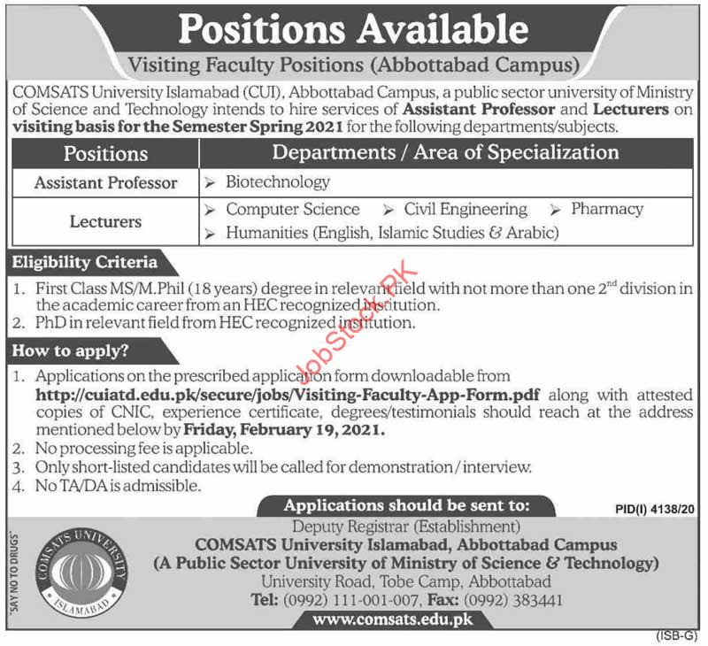 Assistant Professor And Lecturer Jobs In Abbottabad 2021