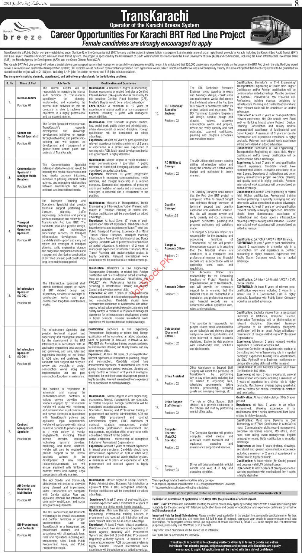 Brt Red Line Karachi Jobs 2021 Transkarachi Project