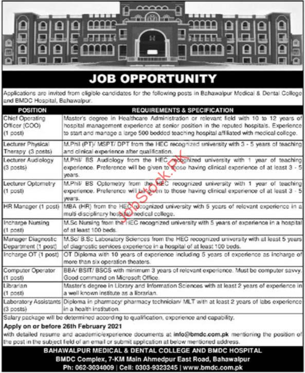 Bahawalpur Medical & Dental College Bmdc Jobs 2021 Latest