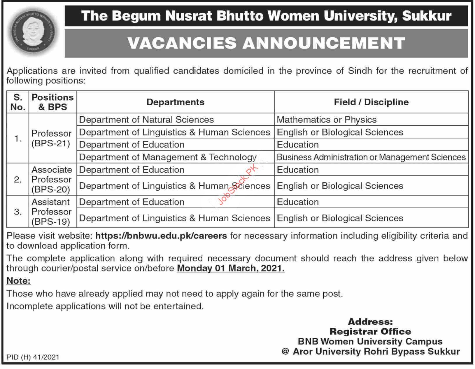 Begum Nusrat Bhutto Women University Sukkur Jobs 2021 Latest