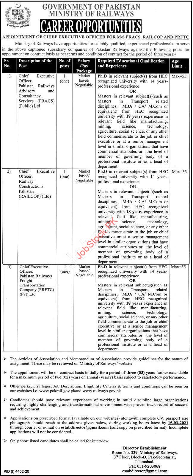 Ceo Jobs In Islamabad Ministry Of Railways
