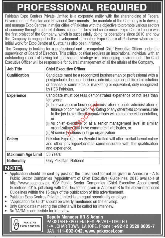 Ceo Jobs In Pakistan Expo Center Lahore 2021