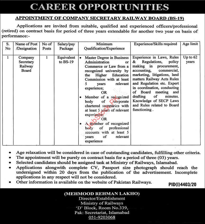 Company Secretary Job In Karachi Lahore Islamabad 2021