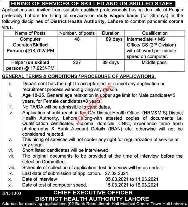 Computer Operator Jobs In Lahore 2021