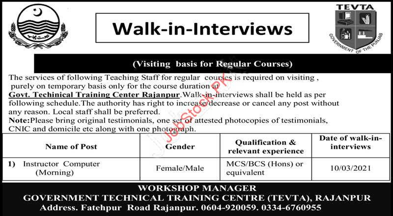 Computer Teaching Jobs In Rajanpur 2021