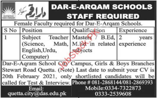 Dar E Arqam School Quetta Jobs 2021 Latest