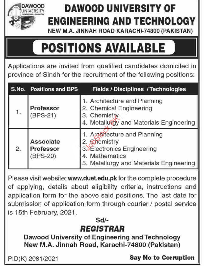 Dawood University Of Engineering & Technology Duet Jobs 2021 Latest