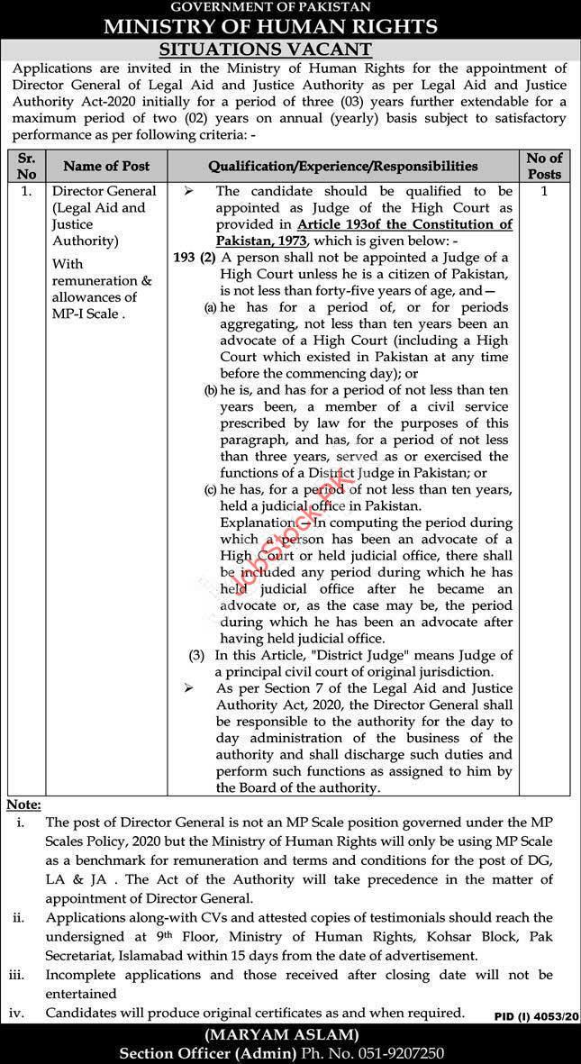 Director General Jobs In Islamabad Latest 2021 Jobs