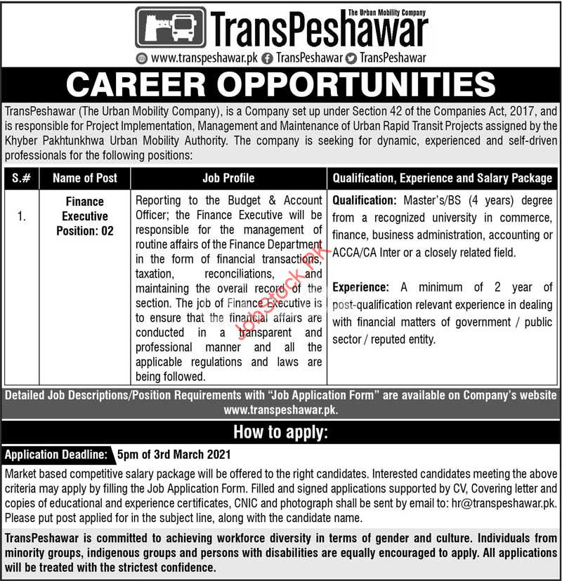 Finance Officer Jobs In Peshawar 2021 Transpeshawar