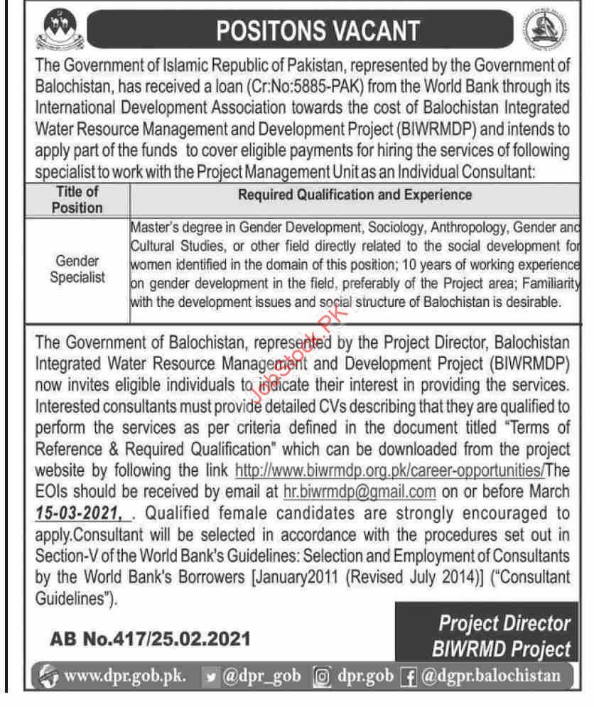 Gender Specialist Jobs In Pakistan Biwrmd Project