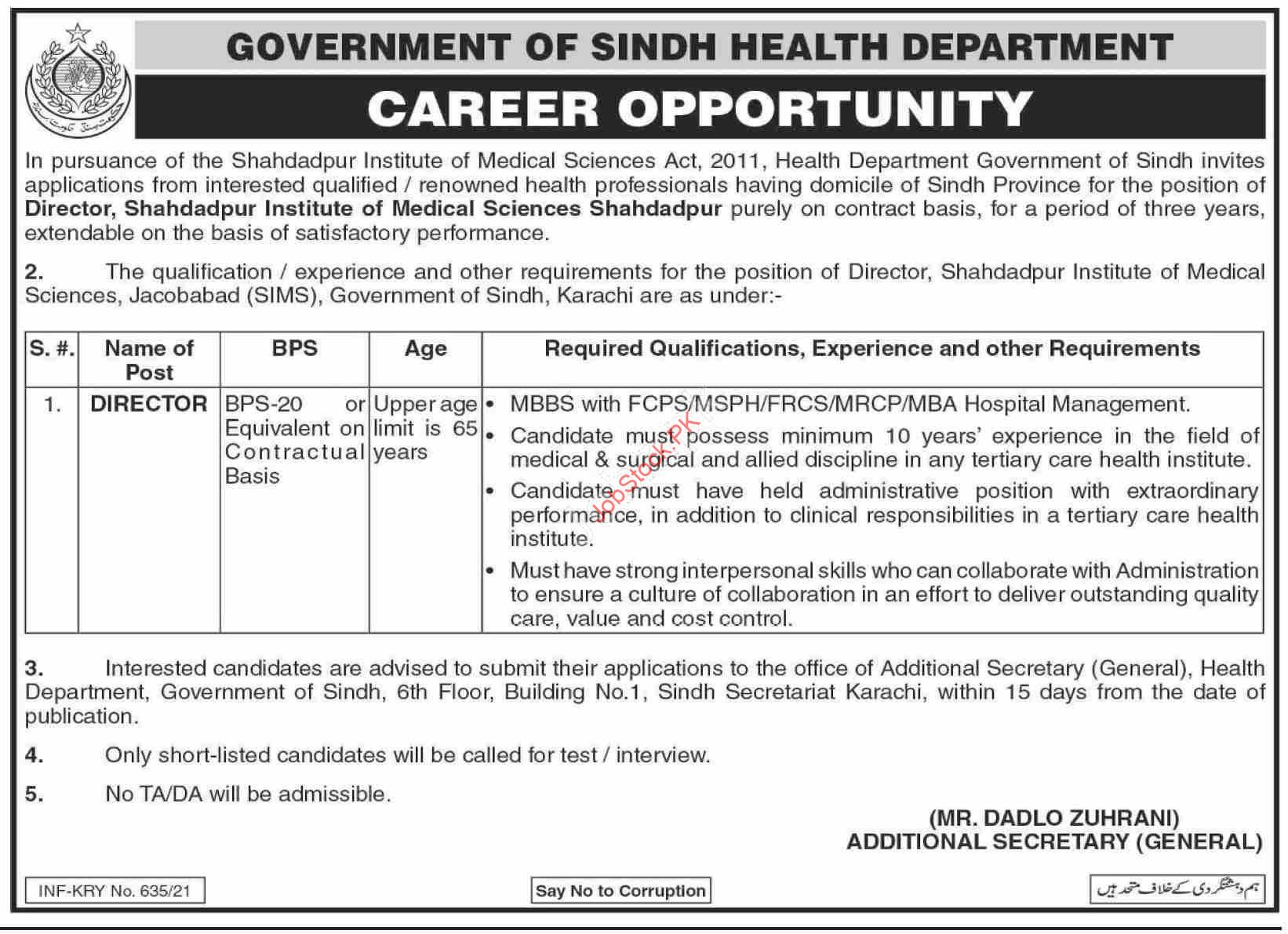 Government Of Sindh Health Department Jobs 2020 Latest Director Jobs