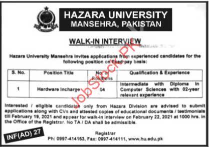 Hazara University Mansehra Jobs 2021 Hardware Incharge