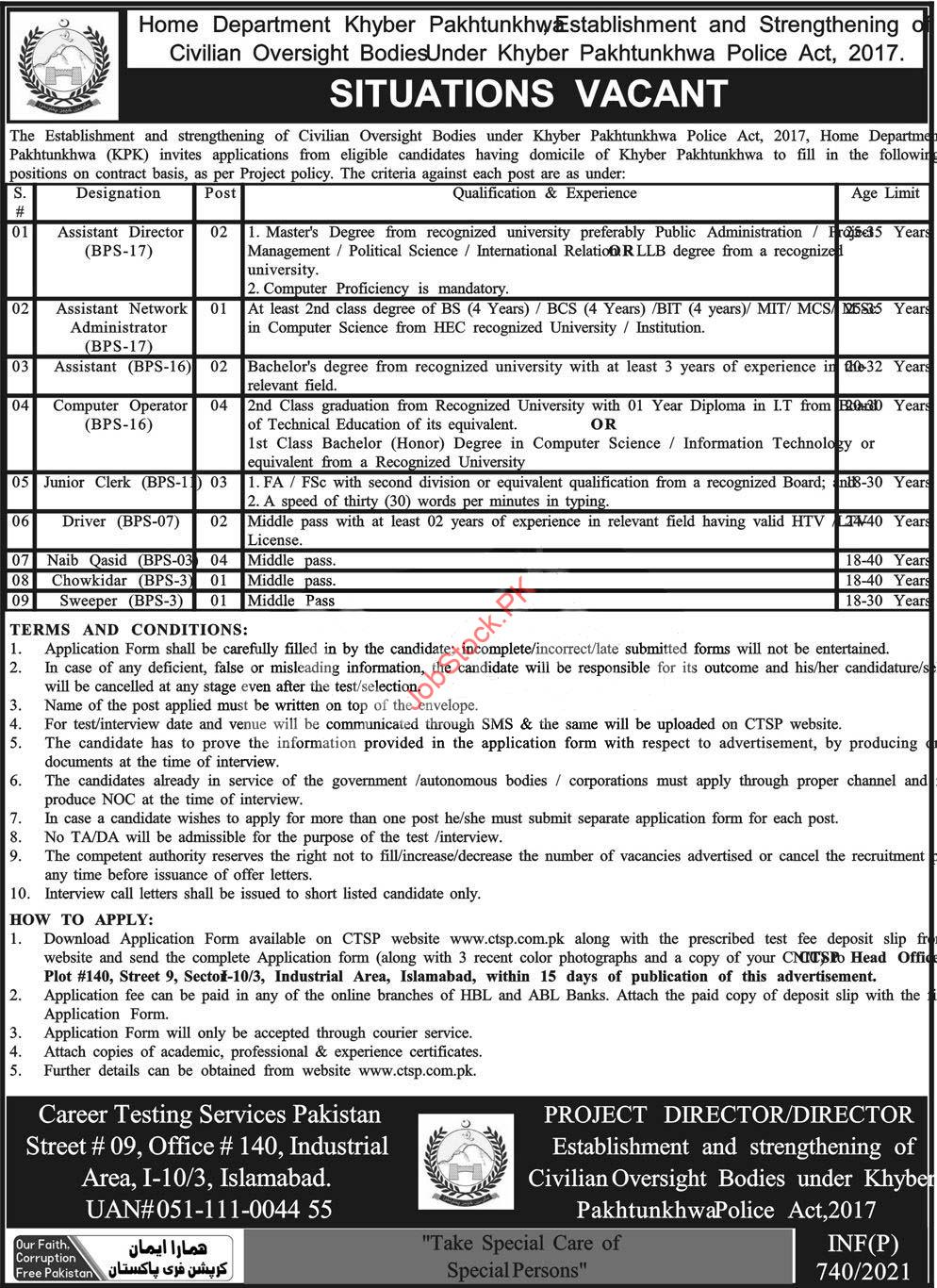 Home Department Peshawar Jobs 2021 Latest
