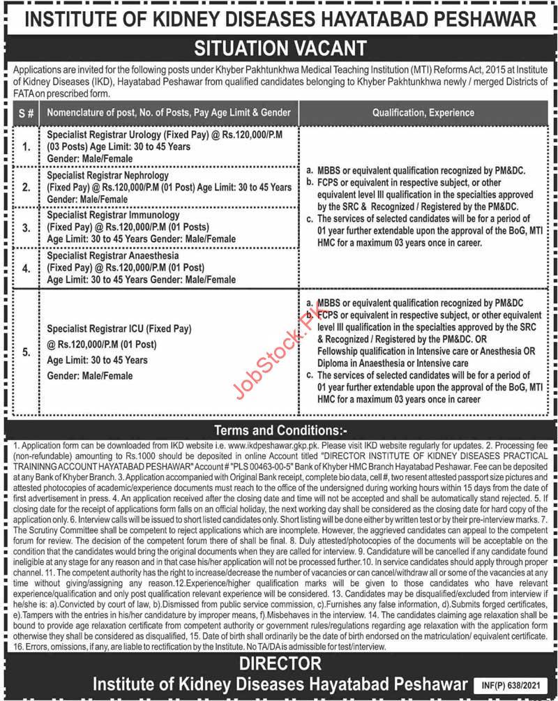Institute Of Kidney Diseases Hayatabad Peshawar Jobs 2021