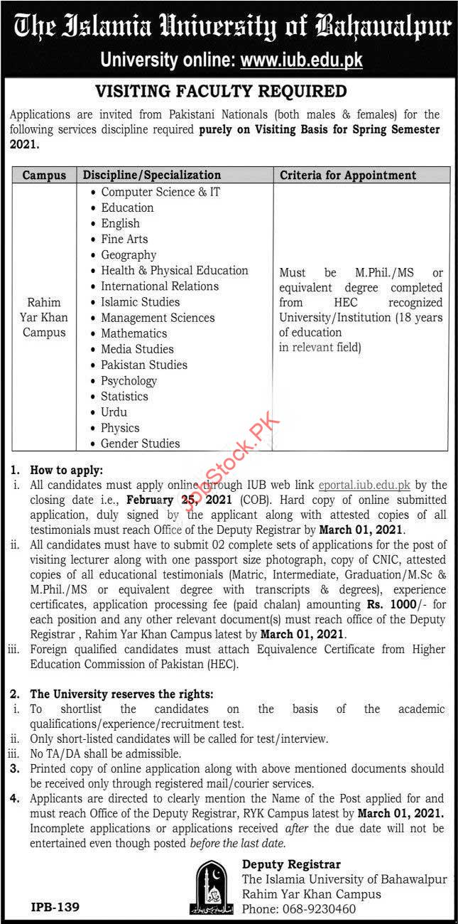 Islamia University Bahawalpur Rahim Yar Khan Campus Jobs