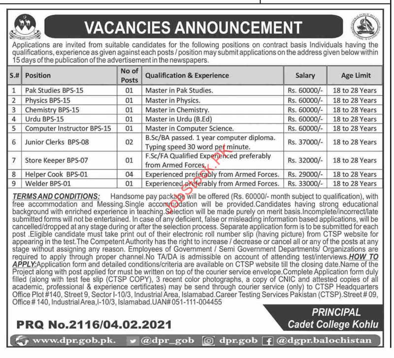 Jobs In Cadet Colleges 2021 Latest Jobs
