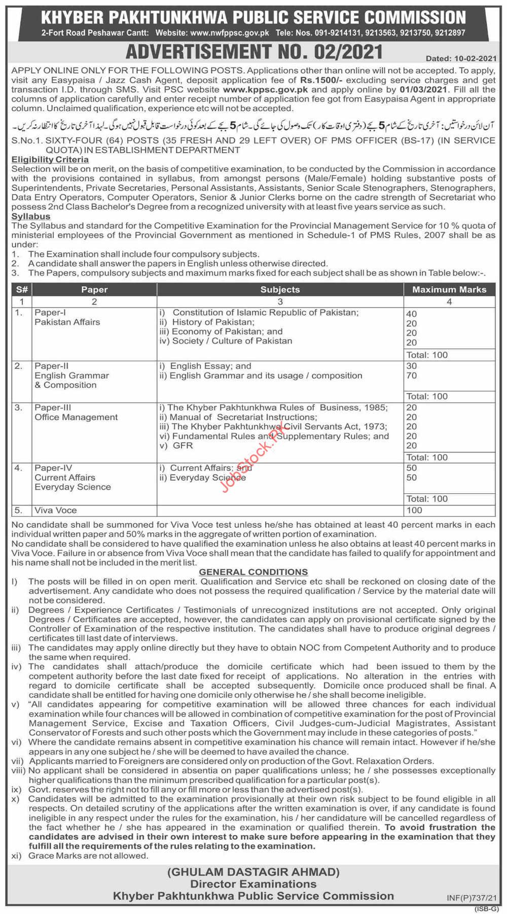 Khyber Pakhtunkhwa Public Service Commission Kppsc Jobs 2021 Latest