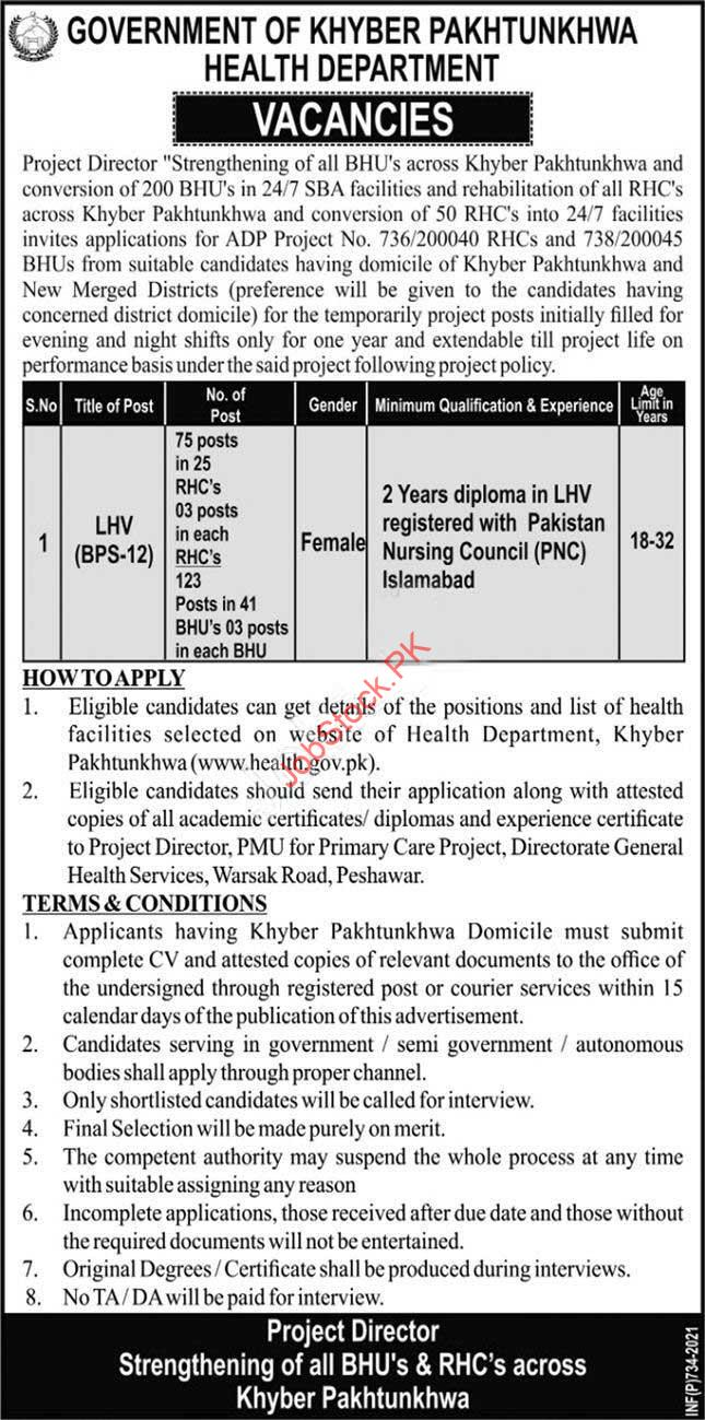 Lhv Jobs In Health Department Peshawar 2021
