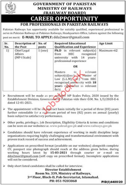 Law Officer Jobs In Ministry Of Railways 2021