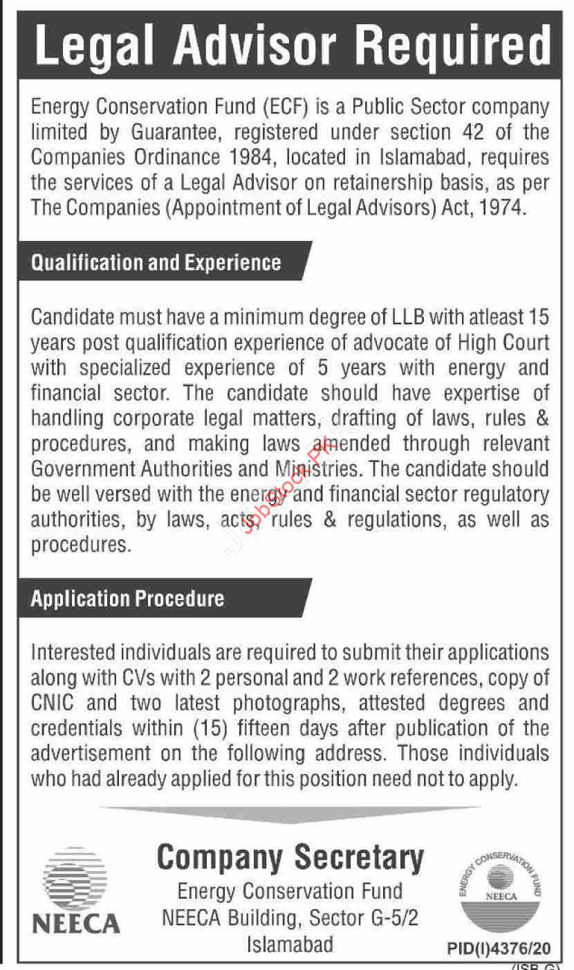 Legal Advisor Jobs In Islamabad Rawalpindi