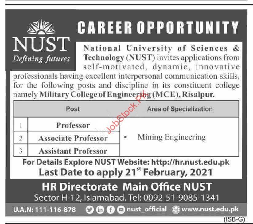 Military College Of Engineering Risalpur Jobs 2021