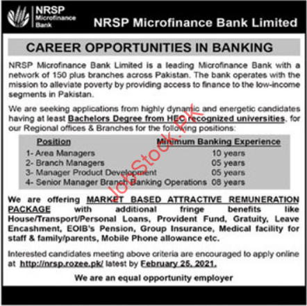 Nrsp Microfinance Bank Limited Bahawalpur Jobs 2021