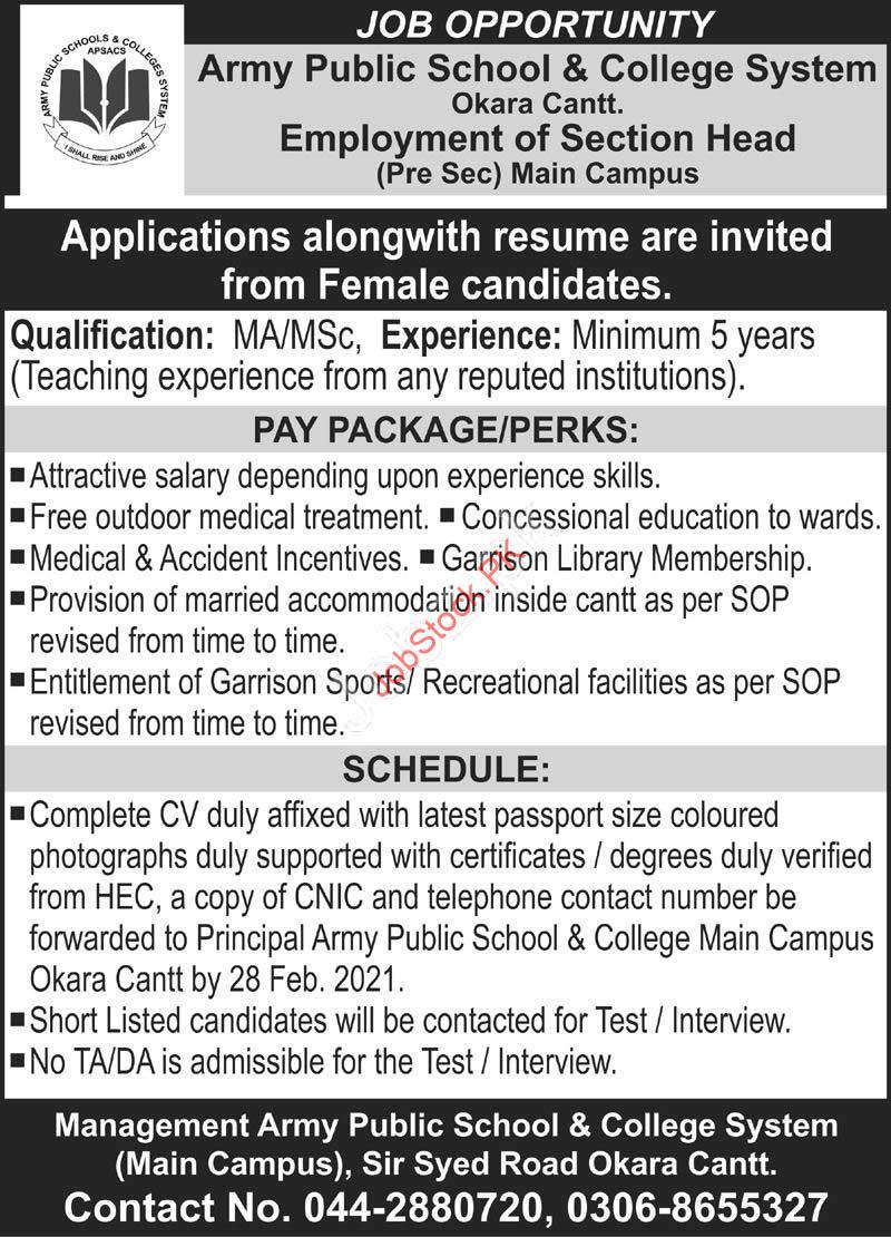 Pak Army Jobs Okara Cantt 2020 Section Head Job