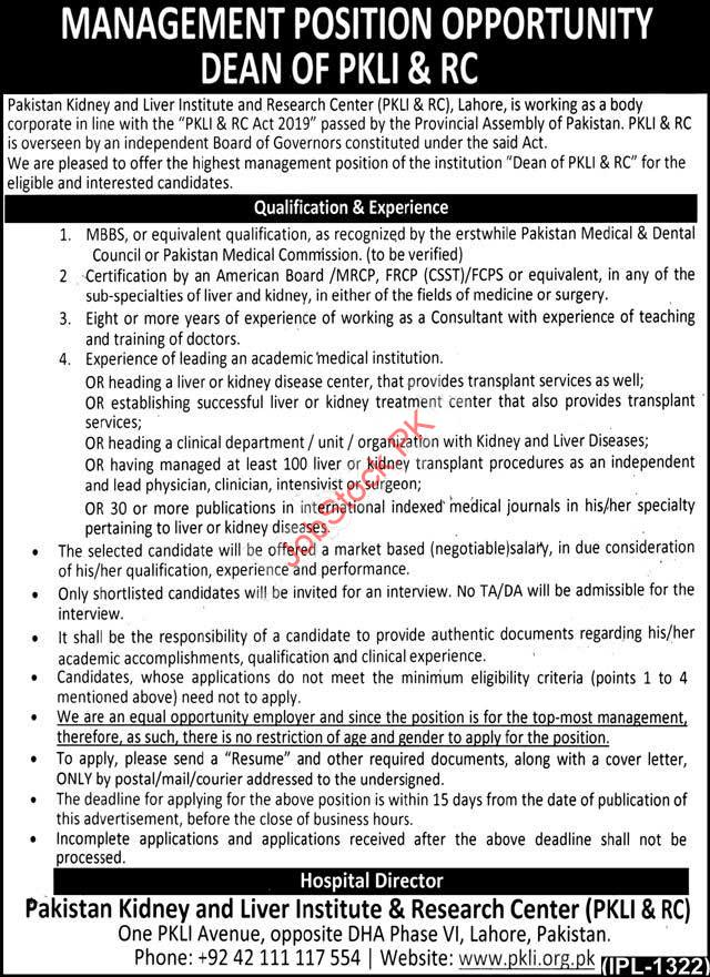 Pakistan Kidney And Liver Institute And Research Center Jobs 2021