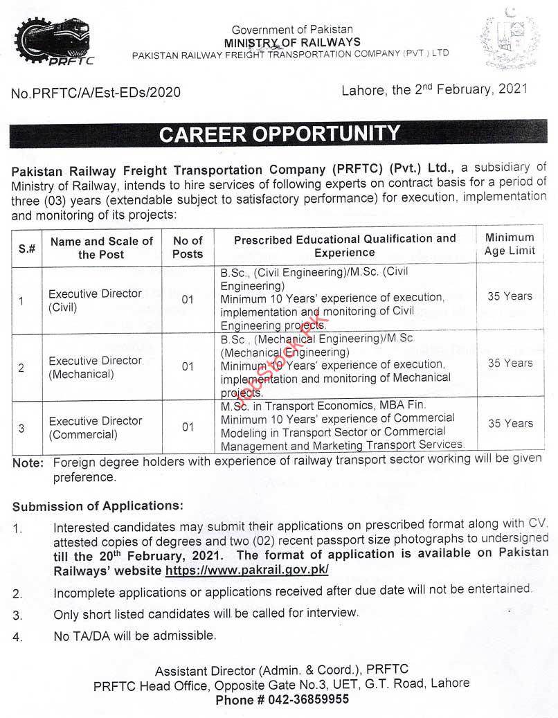 Pakistan Railway Freight Transportation Company Jobs 2021