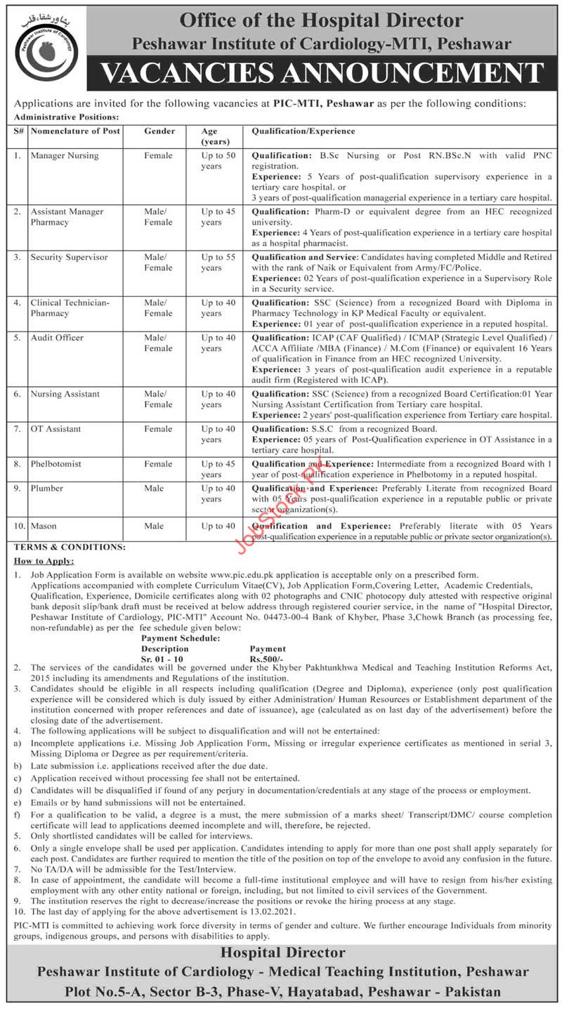 Peshawar Institute Of Cardiology Jobs 2021 Advertisement