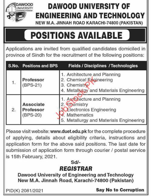 Professor Jobs In Karachi Today Newspaper Jobs In English Ad