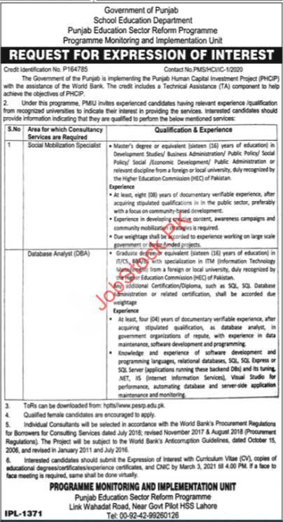 Punjab Education Sector Reform Program Jobs 2021