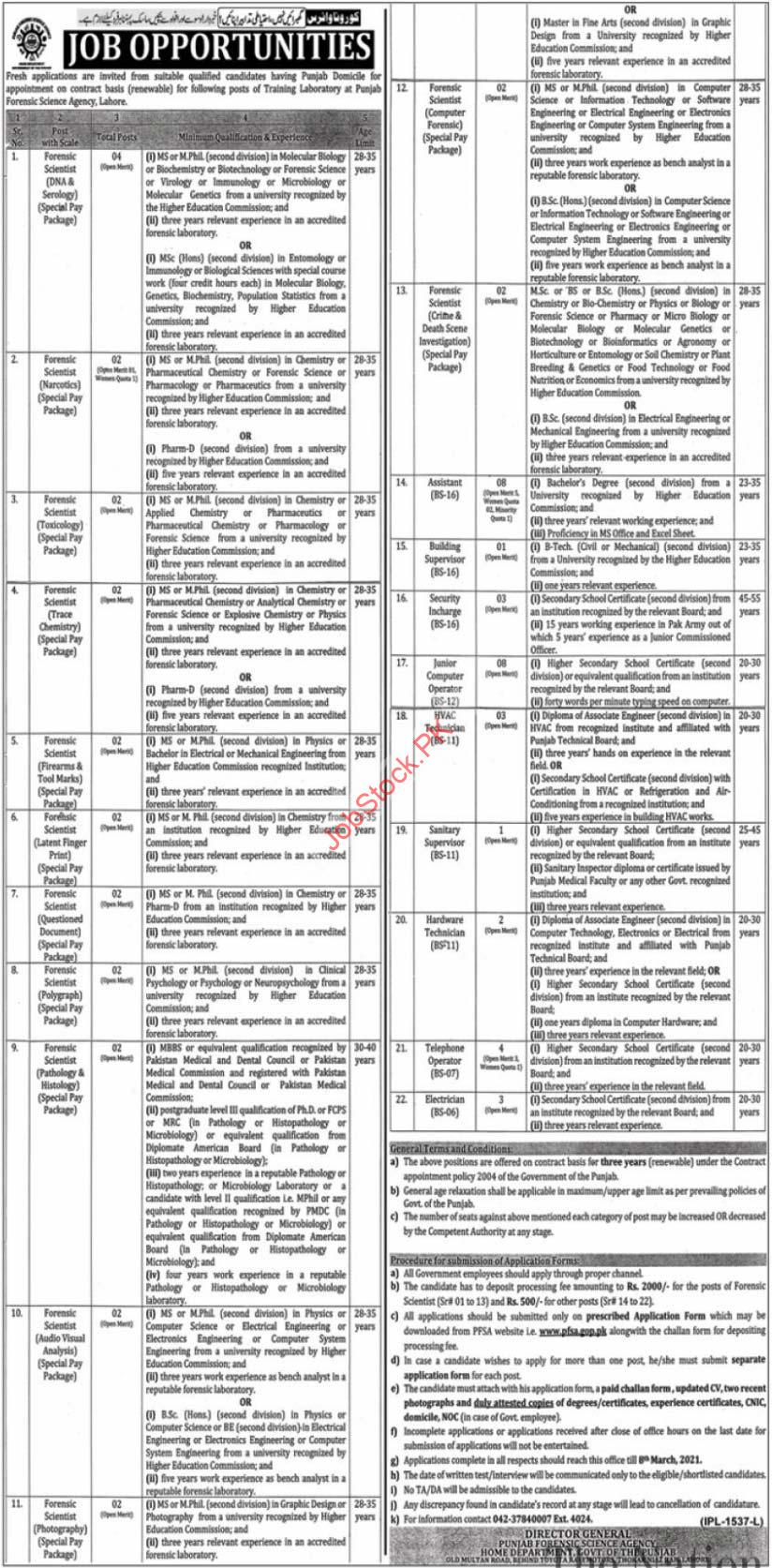 Punjab Forensic Science Agency Pfsa Lahore Jobs 2021 Latest