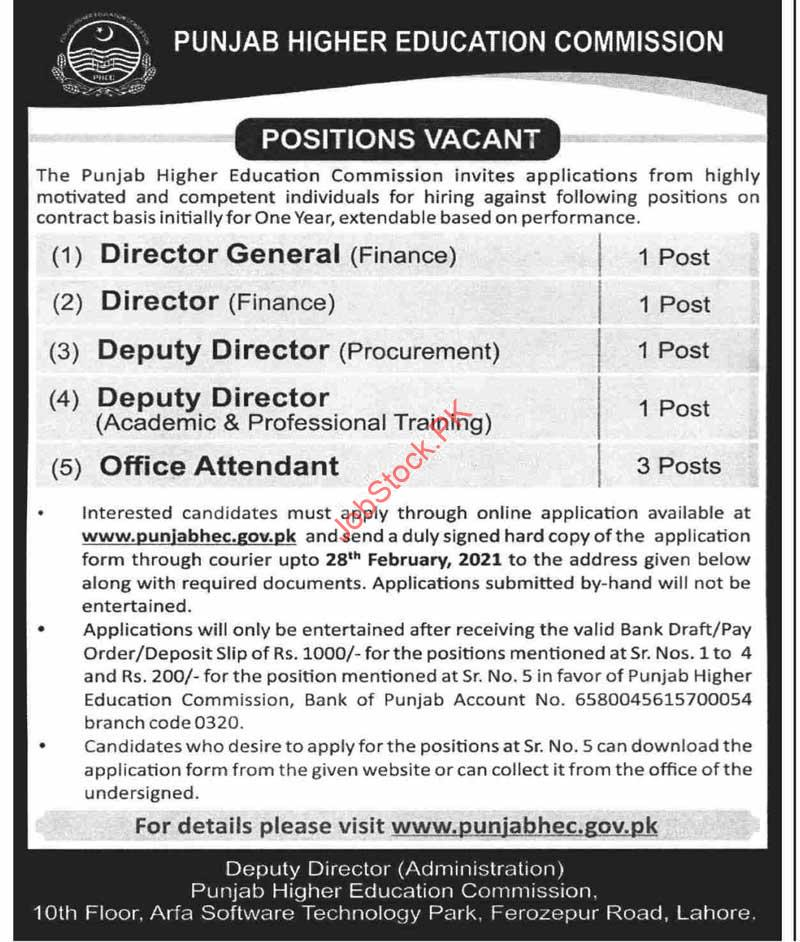 Punjab Higher Education Commission (phec) Jobs 2021 Latest