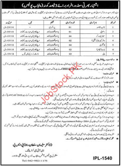 Punjab Police Department Lahore Jobs 2021 Latest