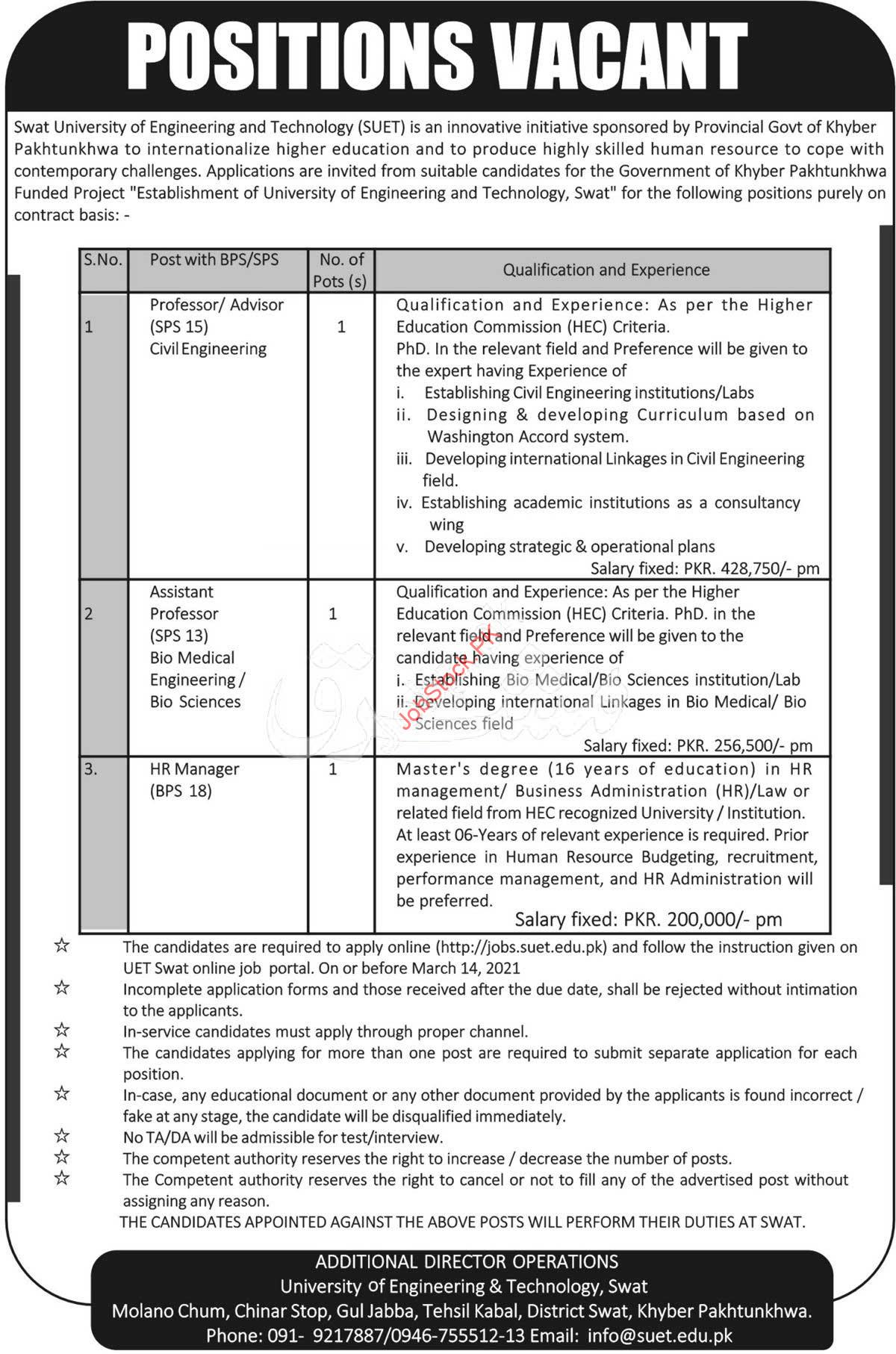 Swat University Of Engineering And Technology Jobs 2021