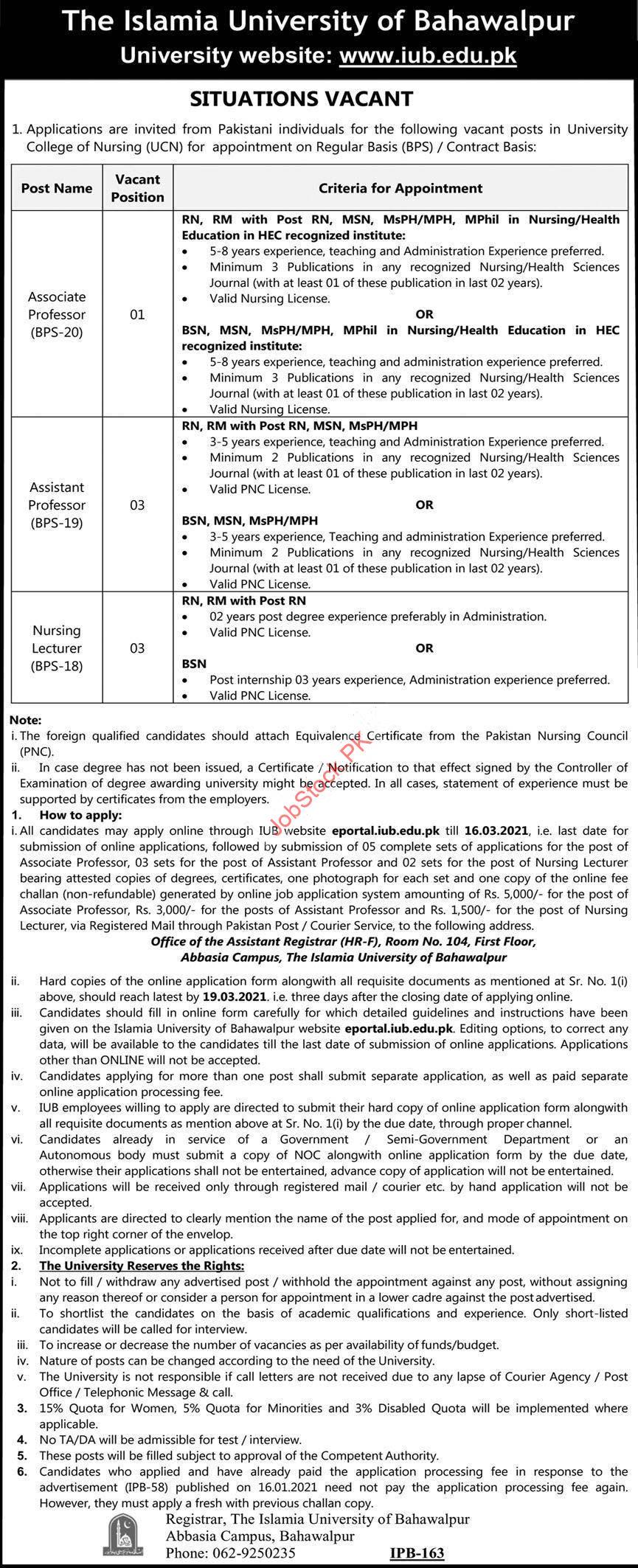 The Islamia University Of Bahawalpur Iub Jobs 2021 Latest