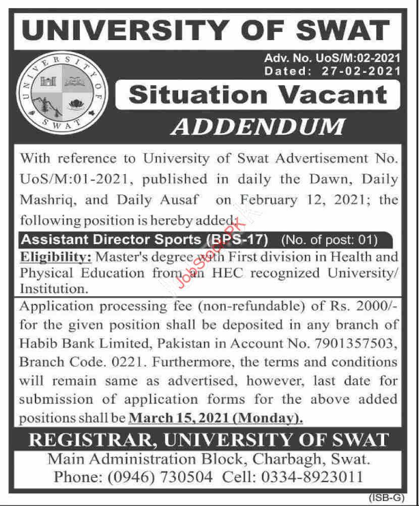 University Of Swat Jobs 2021 Assistant Director Sports