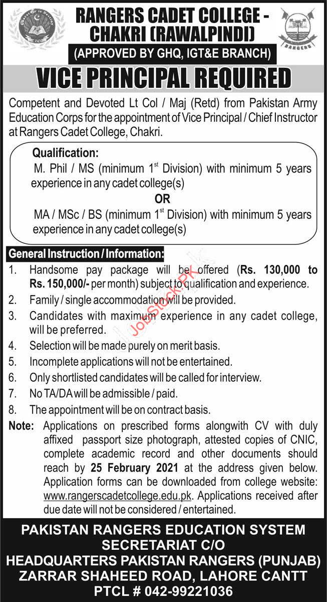 Vice Principal Jobs In Rawalpindi Islamabad 2021