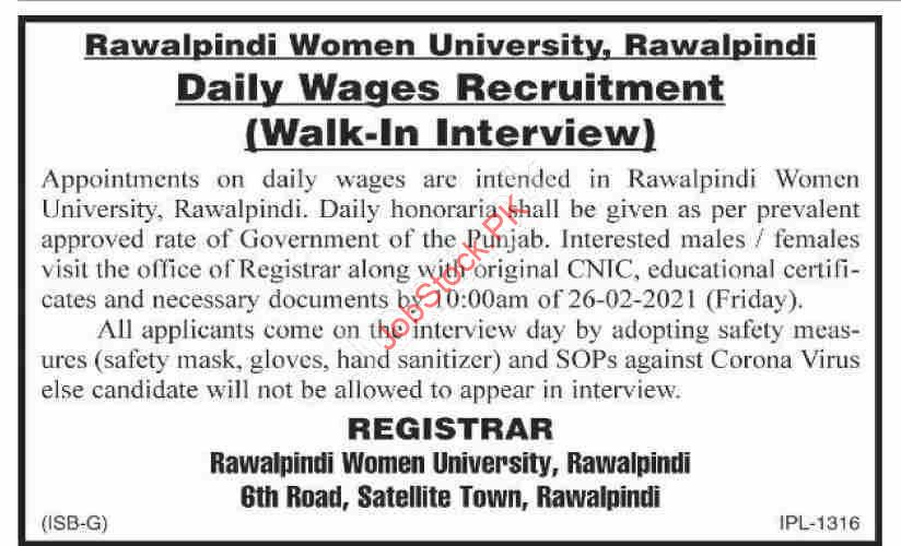 Daily Wages Jobs In Rawalpindi 2021