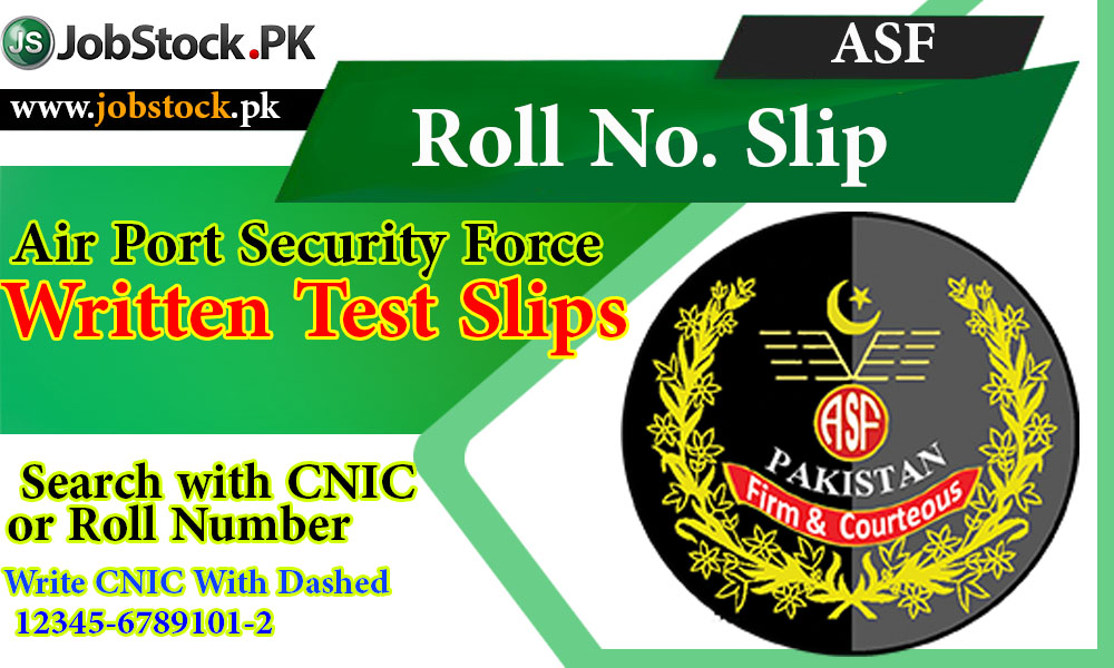 Asf Roll No.slip Written Test Slip Airport Security Force